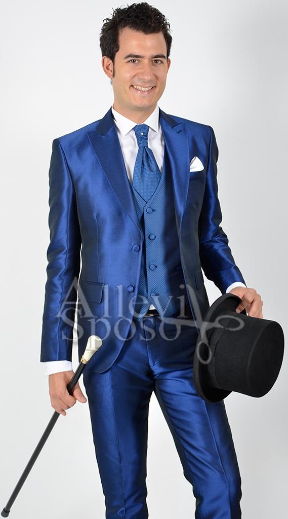 Vestito Matrimonio Uomo Blu Elettrico : Abito cerimonia blu elettrico gilet rombino allevi sposo