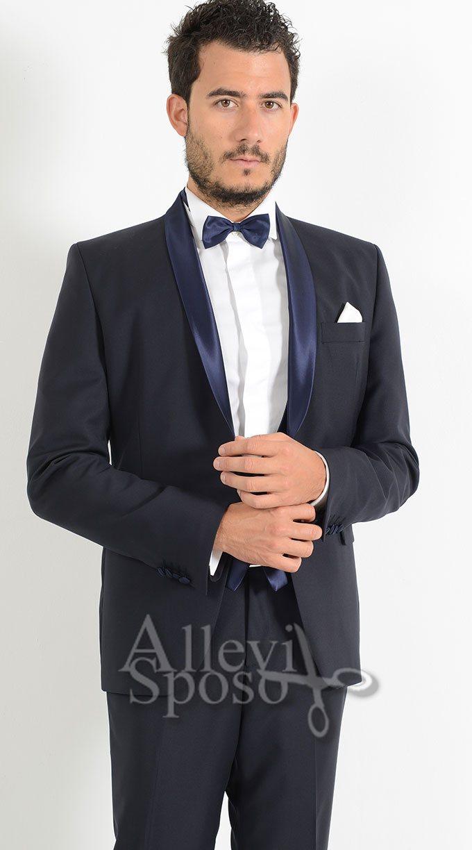 Vestito Matrimonio Uomo Papillon : Smoking blu monopetto scialle allevi sposo